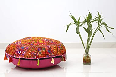 Trade Star Indian Patchwork Pouffe Traditional Home Decorative Cushion Cover Handmade Embroidered Cotton Patchwork Foot Stool