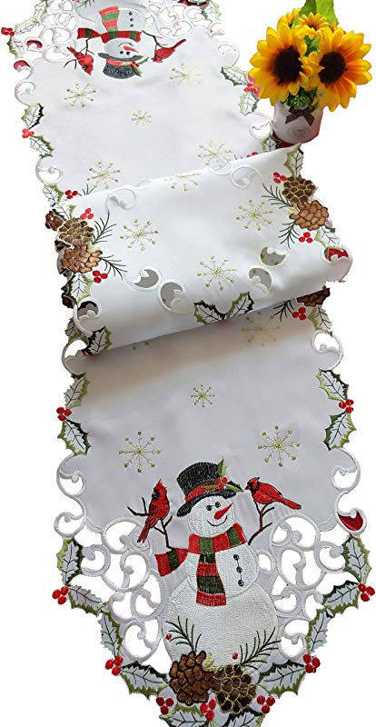 Jamie S Arts Snowman Cardinals Christmas Embroidered Handcut Table Runner 13x68 Inches