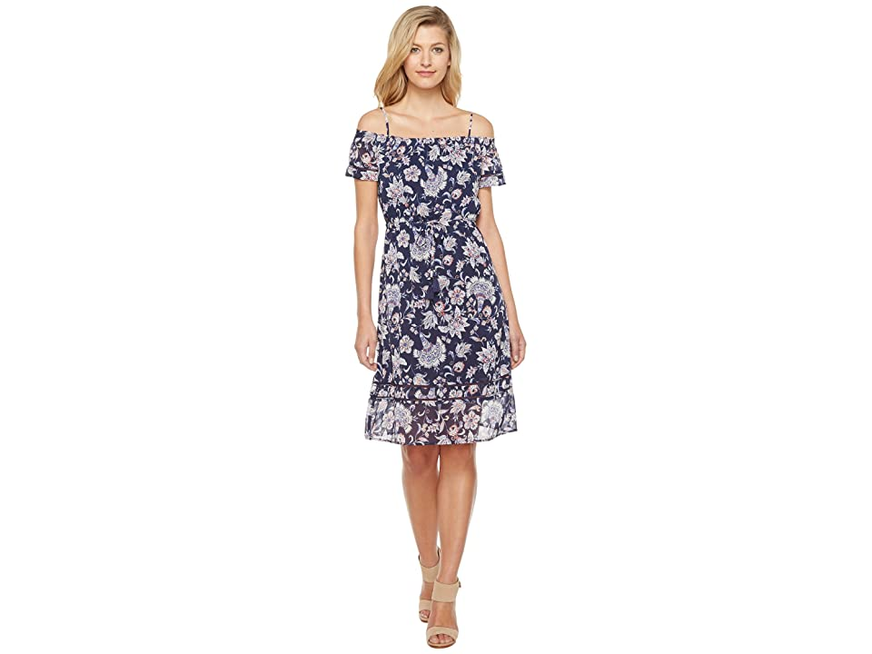 Lucky Brand Cold Shoulder Dress (Navy Multi) Women