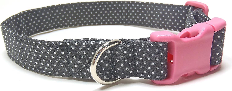 Paris Polka Dots Pink and Black Dog Collar, Designer Cotton Dog Collar, Collari Fabric creati a mano (S)