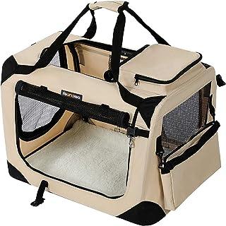 FEANDREA ペットキャリー 犬 猫 キャリーバッグ キャリーケース 折りたたみ 50×35×35cm ベージュ NPDC50W