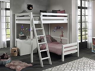 Vipack Lit mezzanine d'angle avec 2 couchages 140 x 200 cm et 2 tiroirs Commode Blanc laqué
