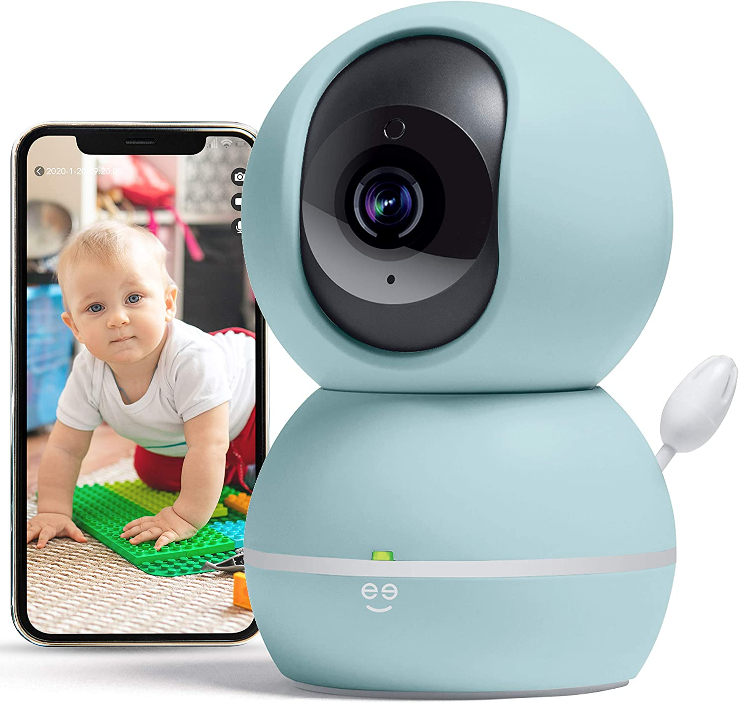 Geeni Smart Home Pet and Baby Monitor with Camera, 1080p Wireless WiFi Camera with Motion and Sound Alert (Pastel Blue)