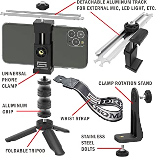 Universal Video Rig System for Vertical and Horizontal Shooting with Any Smartphone DREAMGRIP Scout XM with Patented Track Connector for External Lights, Mic and Another Photo/Video Accessories