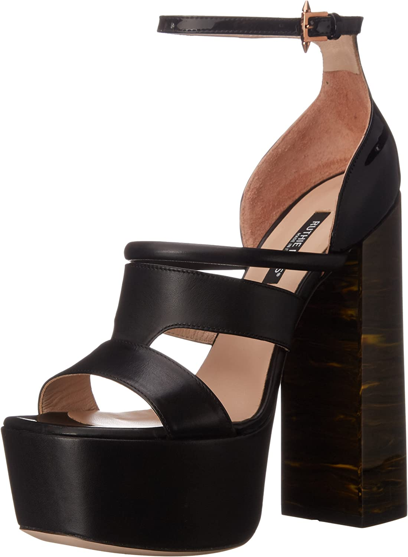 Ruthie Davis Women's Hybrid Platform Sandal, Black, 38.5 EU 8.5 M US