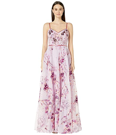 Marchesa Notte Sleeveless V-Neck Printed Organza Gown