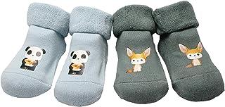 Colourful Baby World, Juego de 2 pares de calcetines de invierno para bebé y niña con diseño de animales con puño plegado.