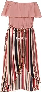 Little Girls 2 Ways Ruffle Hi Lo Maxi Skirt Romper Belt Jumpsuit Romper USA 4-14