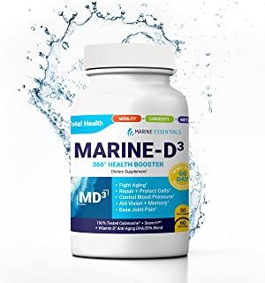 "Marine Essentials Vitamin D3 Omega 3 Fish Oil - ""Marine-D3"" 340 mg Vitamin D3 DHA Anti Aging Omega 3 Fish Oil Dietary Supplement (60 Softgels)"