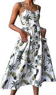 Women's Dresses-Summer Floral Bohemian Spaghetti Strap Button Down Swing Midi Dress with Pockets