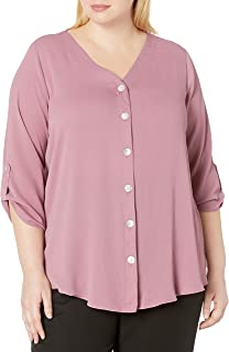 AGB Women's Plus Size Button Down Top with Roll-tab Sleeves