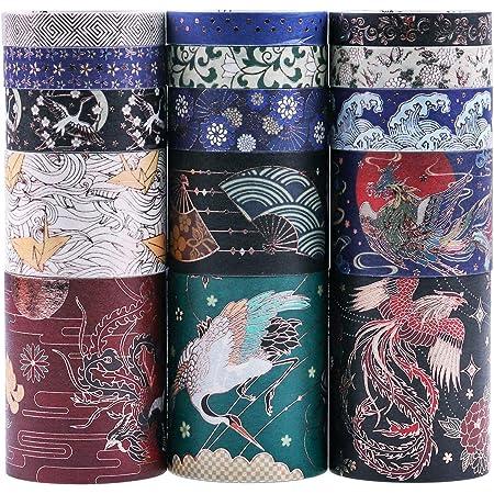 Lychii Washi Tape Set, 15 Rouleaux Ruban Adhésif Décoratif Masking Tapes pour Arts, Bullet Journal, Scrapbooking, Bricolage, Emballage