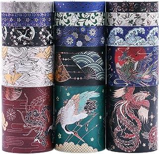 Lychii Washi Tape Set, 15 Rouleaux Ruban Adhésif Décoratif Masking Tapes pour Arts, Bullet Journal, Scrapbooking, Bricolag...