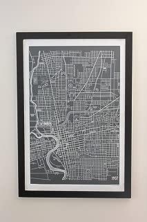 Columbus Ohio Vintage Style Map Canvas 24 x 36 Poster