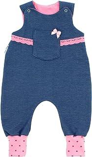 Kleine Könige Baby Strampler Mädchen Baby Body  Modell Jeansoptik mit Tasche Jona, Punkte pink rosa  Ökotex 100 zertifiziert  Größen 50-92