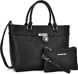 Women's Large Fashion Tote Bag Classic Padlock Handbag Satchel Shoulder Bag Work Bag Wallet Set