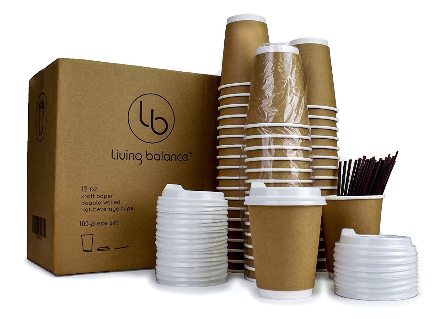 Disposable Coffee Cups To Go with Lids, Stirrers, and Integrated Sleeves | [100 Pack - 12 Ounce] | Recyclable Paper | Travel Cups