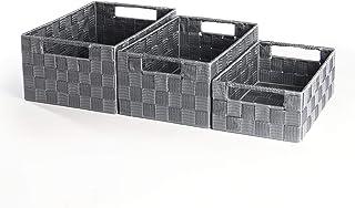 Paniers De Rangement En Nylon Gris Grand Moyen Et Petit - Paquet De 3 | Pour placards étagères Rangement de salle de bain ...