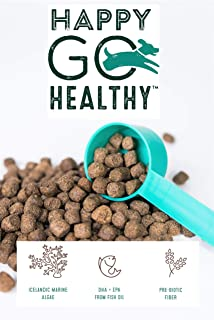 HAPPY GO HEALTHY | One Dog Supplement Does it All | Skin & Coat | Joints & Bones | Healthy Digestion | Wild Alaskan Salmon Fish Oil | Grain Free | Dogs Love It | Easy to Use