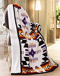 Southwest Design (Navajo Print) Sherpa Lined Throw 16112 White