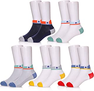 POEATEZO Kids Athletic Low-Cut Ankle Socks Boys Girls Fashion Cotton Crew Socks 5 Pairs