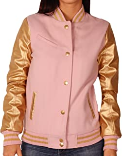 Junior Wool Blend Varsity Jacket with Faux Leather Sleeves