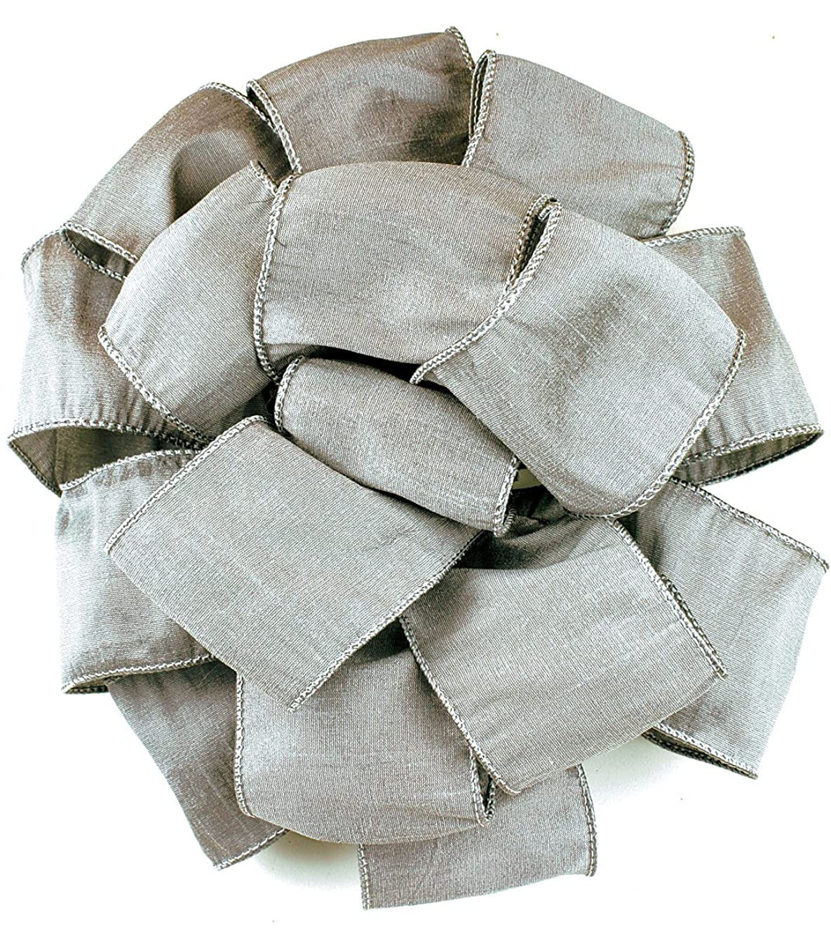 Offray Wired Edge Anisha Craft Ribbon, 4-Inch Wide by 10-Yard Spool, Silver