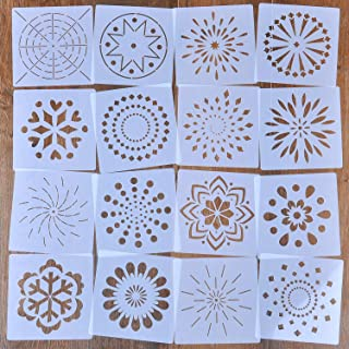 LOCOLO 16 PCS Mandala Dotting Stencils Template-Different Patterns Mandala Dot Painting Templates for Painting on Wood, Airbrush, Canvas, Wood Furniture Painting and Stone Walls Art