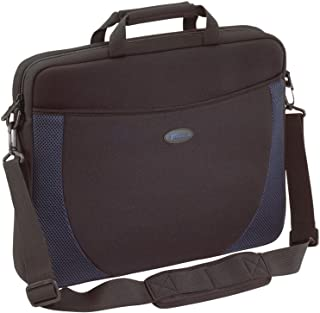 Targus Neoprene Slipcase Sleeve with Shoulder Strap, Professional Business and Travel Laptop Tote Bag for 17-Inch Laptop, Black with Blue Accents (CVR217)