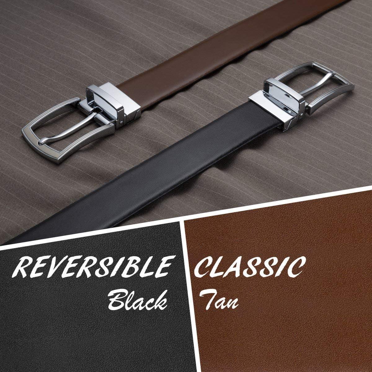 Men's Reversible Classic Dress Belt Italian Top Grain Leather Black & Brown Rotating Buckle by Prospero Comfort