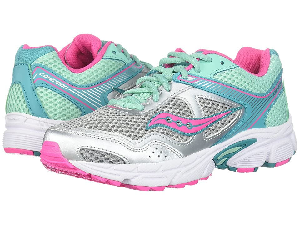 Saucony Kids Cohesion 10 LTT (Little Kid/Big Kid) (Silver/Turquoise) Girls Shoes