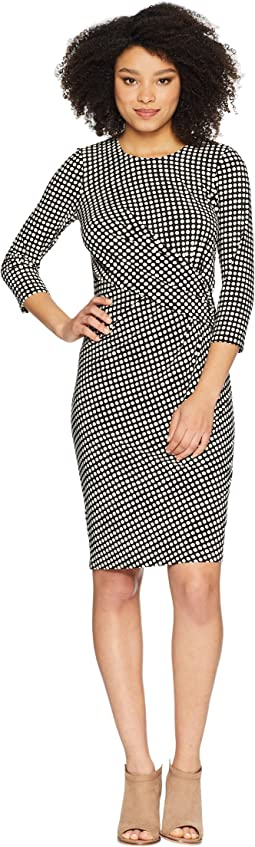 Dot Drape Front Knit Dress