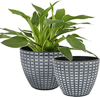 LA JOLIE MUSE Flower Pots Outdoor Indoor, Modern Chic Planters with White Geometric Mosaic Texture Patterns in Gray Gradie...