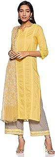 BIBA Women's cotton Straight Salwar Suit Set