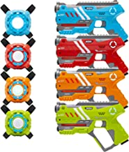 Best Choice Products Set of 4 Laser Tag Blasters w/ Vests and Backwards Compatible, Multicolor
