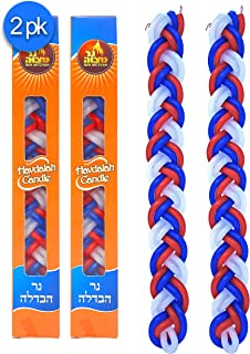 Ner Mitzvah Braided Havdalah Candle - 2-Pack - Flat Red, Blue and White Paraffin Wax - Handcrafted Havdallah Candle - Shabbat Judaica Gift