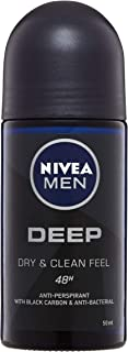 NIVEA MEN Deep Roll On Antiperspirant Deodorant, 50mL, 50 ml