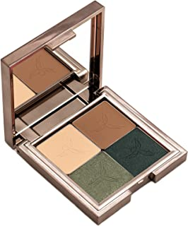 Gallany Cosmetics Eye Shadow Quad Palette, Earth Tone Eyeshadow, Brown Green Smokey Eye, Shimmering Pigments (Eden)