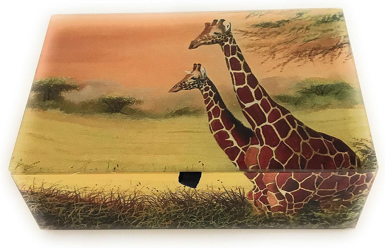 Value Arts Giraffe Glass Keepsake Beveled Superior Velvet favorite Lin Box