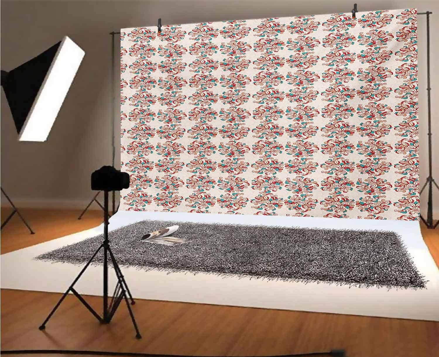 Coral 10x6.5 FT Vinyl Photography Background Backdrops,Double Exposured Graphic Mexican Skull Bones and Exotic Creepy Dead Icon with Plants Background for Graduation Prom Dance Decor Photo Booth Studi