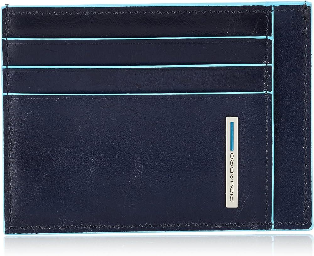 Piquadro, porta carte di credito in vera pelle, blu PP2762B2