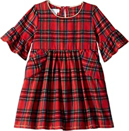Red Tartan Plaid Long Sleeve Ruffle Dress (Toddler)