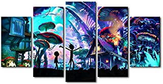 Nanerdun - 5 Pieces of Modern Canvas Wall Art Painting Rick and Morty Poster Modern Home Decoration Art Miniature Spray Canvas Printing (150x80cm no Frame)