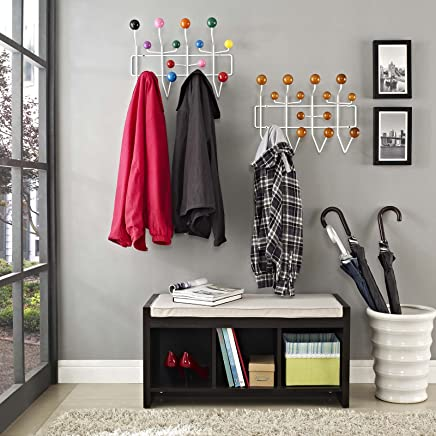 Modway Gumball Mid-Century Wall-Mounted Coat Rack in Walnut