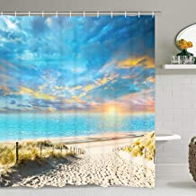 Smurfs Yingda Ocean Beach Shower Curtain with 15 Hooks, Blue Sky Sunset Glow and Seaside Sand Road Shower Curtain for Bathroom, Waterproof