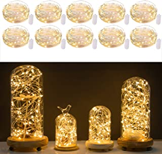 10 Pack Fairy Lights 7 Feet 20 LED Firefly Lights Battery Operated String Lights Copper Wire Starry Moon Lights for DIY Wedding Bedroom Indoor Party Decoration (Warm White)
