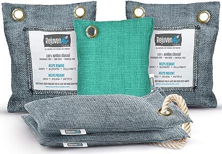 Bamboo Charcoal Air Purifying Bag (5 Pack - 200g, 50g, 75g), Natural Air Freshener Bags, Activated Charcoal Odor Eliminators, Car Air Purifier, Closet Freshener, Home Air Freshener, Charcoal Bags