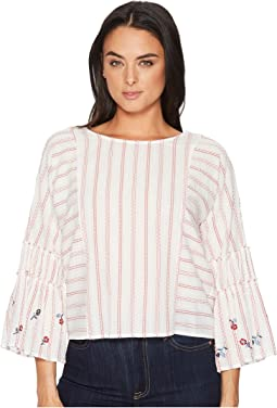 Ruffle Bell Sleeve Bubble Stripe Embroidered Blouse