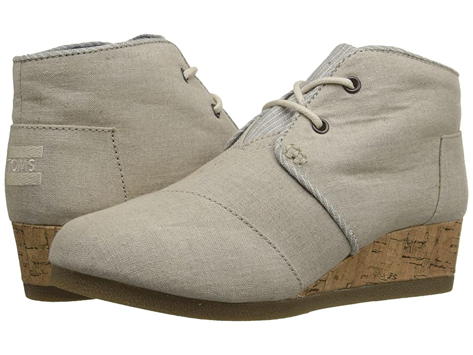 TOMS Kids Desert Wedge Bootie (Little Kid/Big Kid) (Natural Linen) Kids Shoes