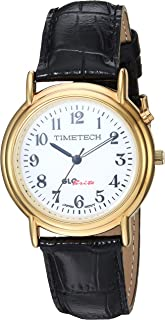 Viva Time Women's 'Timetech 14K Gold Plated' Quartz Metal and Leather Casual Watch, Color Black (Model: 2653M)